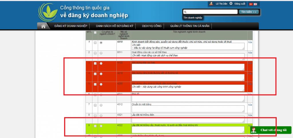 Tìm thông tin đăng ký ngành nghề doanh nghiệp